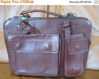 15% SUMMER SALE Vintage brown leather briefcase and messenger bag organizer