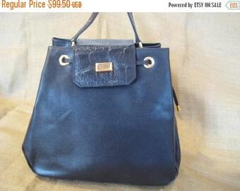 10% OFF SALE Vintage genuine Gianfranco Ferre black leather structured shoulder bag with croc pattern 90s