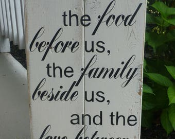 Bless the food reclaimed wood sign