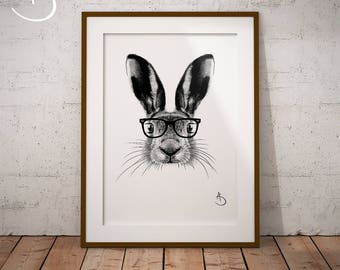 CUTE HIPSTER HARE Drawing download, Hare decor, Hipster Hare Print, Printable Hare Poster, Printable Decor, Hipster Animals, Woodland decor