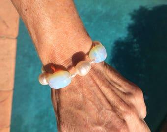 Large Freshwater Pearl and Vintage Opaline Glass Bracelet