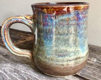 Mug Ceramic Handmade wheel thrown pottery stein holds 16oz rainbow
