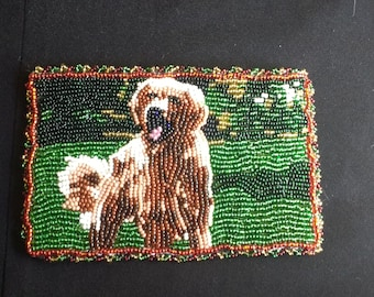 Fully Beaded Dog on Grass picture.