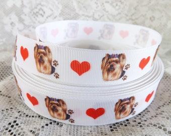 Yorkie ribbon Yorkshire Terrier ribbon 7/8 Yorkshire dog Grosgrain ribbon yorkie dog ribbon
