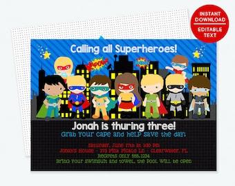 Superhero Invitation, Super Hero Invitation, Superhero Birthday Invitation, Superhero Party, Printable Invitation, Superhero Birthday | 273