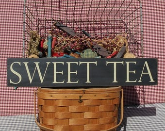 """Sweet Tea primitive rustic farmhouse chic painted wood sign 4.5"""" x 24"""" choice of color"""