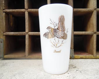 Milk glass tumbler with quail pattern, made by federal