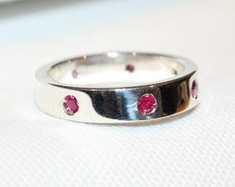 Sterling Silver 7 Round  Ruby set band