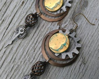 Moon Steampunk Earrings