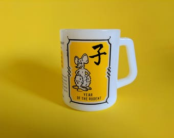 "Vintage ""Year of The Rodent"" Federal Milk Glass Mug"