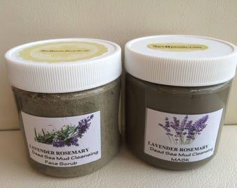 SPA Uptown Set of Lavender Rosemary, Dead Sea MUD, Facial Care: MASK & Sugar Scrub 8 fl  oz each