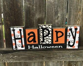 Happy Halloween blocks--Witches, Pumpkins, Bats