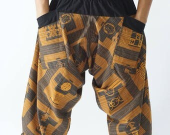HC0408 Samurai Pants  - elastic waistband and cuffs - Fits all!  Unisex pants