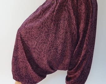 HC0479 Aladdin Pants, Harem Pants 100% Cotton Harem Pants Unisex Low Crotch Yoga Trousers