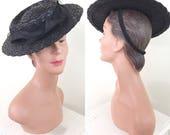 1940s Vintage Hat / Straw / Tilt Hat / Black / Horse hair crin / Vintage 40s Hat