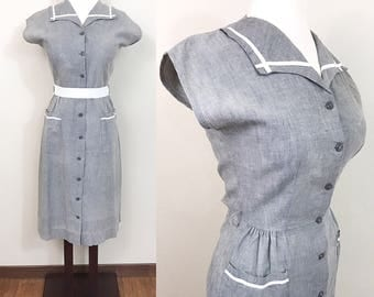 1940s Vintage Dress / Gray / Vintage 40s Dress / Cotton / Pockets / Nautical