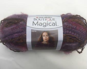 Red Heart Boutique Magical Yarn, Abracadabra Yarn, Purple and Brown Yarn