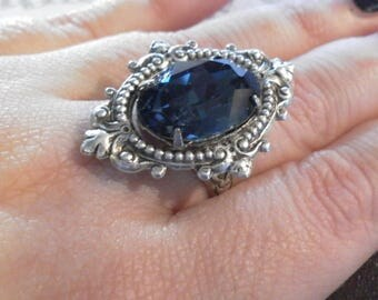 SWAROVSKI crystal adjustable ring in Montana Blue- gothic - lolita - victorian