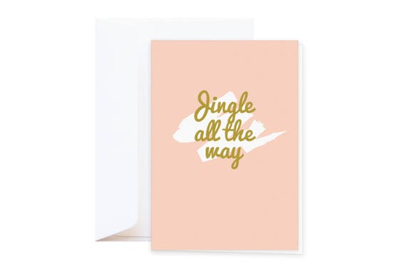"""Christmas Card """"Jingle all the way  // double card including envelope // available as discount set // Hipster scandinavian brush style"""