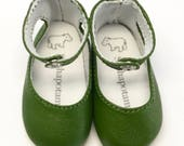 """Grass Green leather ankle-strap shoes for 16"""" Sasha and a Girl for All Time dolls"""