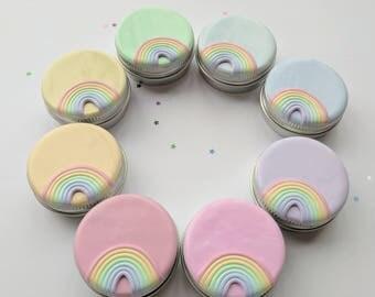 Pastel Rainbow tin. Storage tin. Stitch Marker tin. Handmade. Polymer Clay. Ready to ship.
