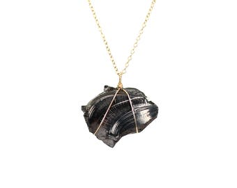 Shungite necklace - mineral necklace - healing necklace - amulet necklace