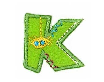 Fusible embroidered alphabet letter K sold individually