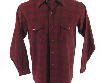 Vintage 50s Woolrich Shadow Plaid Shirt Mens M Red Black USA Made Wool Bakelite [H91M_0-15]