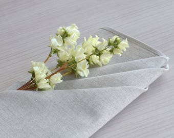 Set of 4 Cloth napkins Beige linen cotton napkins Reusable napkins Wedding table napkins 18 inch square