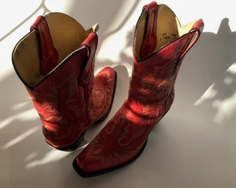 Corral Western Boots Leather Red Embroidery Mid Calf Women's 10 Minimal Use