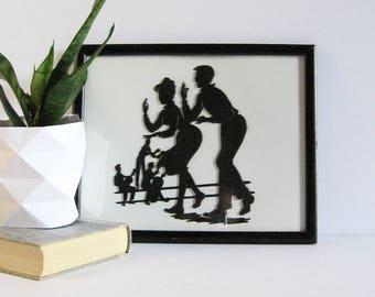Conga Dancers - Black Silhouette Art - Vintage Framed Art - E Richard Abert 61 - Black and White Art Dance Studio Decor Latin Jazz Band Art