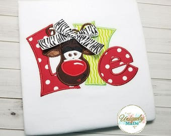 Girls Christmas Shirts - Holiday Shirts - Reindeer Shirt - Christmas Shirts - Love Christmas Shirt - Rudolph Shirt - Girls Shirts
