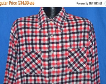 ON SALE 70s Red White Black Twill Flannel Shirt Large