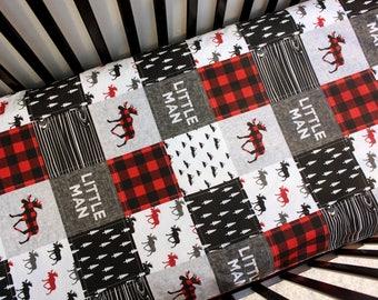 Lumberjack Baby Toddler Quilt, Add Fitted Sheet, Crib Bed Set, Grey Red Black Bedding, Boy Bedding, Woodland Crib, Moose Lumberjack Nursery