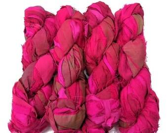 SALE New! Premium  Iridescent Sari Silk  Ribbon yarn , 100g (50 yards) color Fuschia