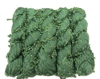 SALE Handspun Acrylic lace and pearl Art yarn, Ivy Green