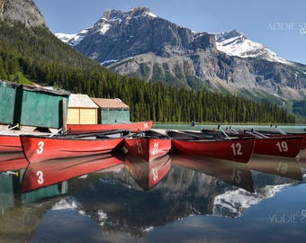 Mirror On The Water / Red Canoe Reflection Emerald Lake Canada Banff Jasper Water Mountain Print Canvas