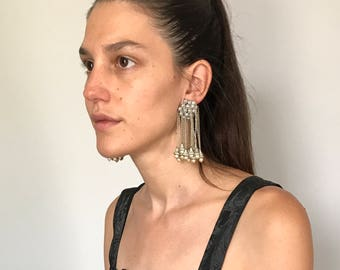 1970s Edie Sedgwick Dangle Oversized Earrings Clip on