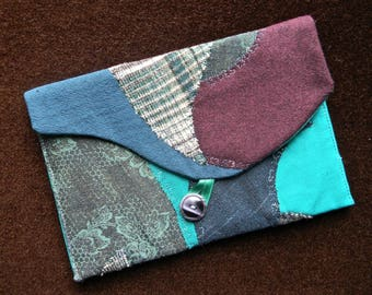 108_ pouch flap of fabric, blue, green, plum