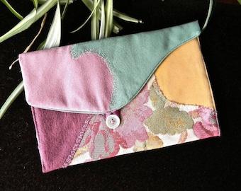 109 - Soft pouch, pink, green, melon, plum