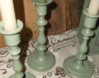Three Vintage Upcycled Brass Candlesticks Brass Candleholders Vintage Taper Brass Candleholders
