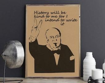 Winston Churchill, art print, wall art decor, wall art print, Quote Churchill,  wall hanging, living room decor, bedroom decor, housewares