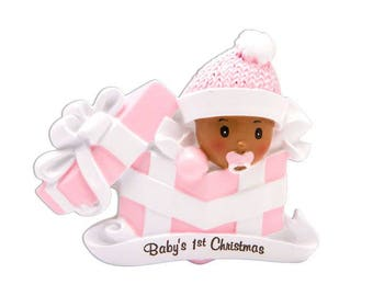 COMING SOON! African American Baby Girl Personalized Christmas Ornament / Baby's 1st Christmas / Baby's First Christmas / New Baby Ornament