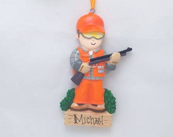 Hunter Christmas Ornament / Personalized Christmas Ornament / Hunting Ornament / Hunting Orange / Deer Hunter / Sport Hunting