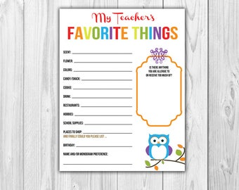 Teacher's Favorite Things List {Multi - Colored}  |  Print at Home