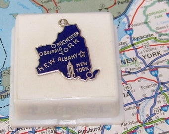 Vintage  NEW YORK  Sterling  and Enamel State Charm -- Rochester, Buffalo, Albany and New York City