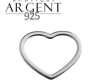 Heart charm in 925 sterling silver finish pendant end - 12 mm