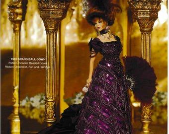 DIGITAL DOWNLOAD  Vintage 1903 Grand Ball Gown Barbie Fashion Doll Crochet Pattern Booklet
