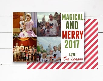 Magical and Merry Christmas Card, Christmas Photo Card, Holiday Photo Card, Disney Christmas Card, Photo Card, DIY or Printed