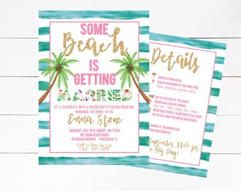 Beach Bachelorette Invitation, Beach Hen Party Invitation, Bachelorette Party, Tropical Bachelorette Party Invitation, DIY or Printed